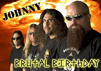 slayer thrash speed heavy metal music personalised greeting, Birthday card