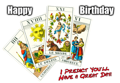 tarot reading personalised greeting birthday art card  new age, Birthday card